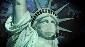 Freiheitsstatue mit Corona-Maske